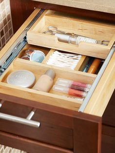 Drawer inserts can keep all of your makeup in one easy location: http://www.bhg.com/bathroom/storage/storage-solutions/store-more-in-your-bathroom/?socsrc=bhgpin012514divideddrawers&page=16
