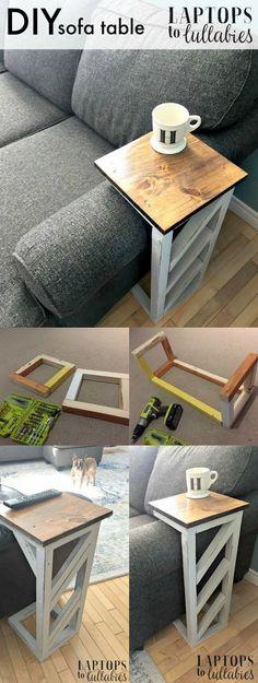 Laptops to Lullabies: Easy DIY sofa tables (Diy Furniture Couch) Diy Sofa Table, Diy Coffee Table, Sofa Tables, Wood Table, Coffee Coffee, Console Table, Easy Coffee, Coffee Ideas, Sofa Side Table