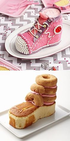 A frozen pound cake and 4 plain doughnuts are the base for this sneaker cake. I think I would cut circles from the same pound cake instead of using donuts. Cake Decorating Techniques, Cake Decorating Tutorials, Decorating Tools, Shoe Cakes, Cupcake Cakes, Purse Cakes, 3d Cakes, Decoration Patisserie, Sculpted Cakes