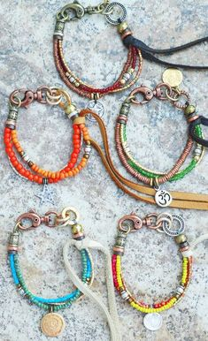 mixed art bead bracelets by artist Kelly Conedera; no pattern
