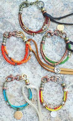 mixed art bead bracelets by artist Kelly Conedera; no pattern