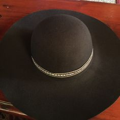 Black Hat Black Floppy Wide Brim Hat - Brand New with tags - 65% polyester, 35% cotton - has a wool feel to it - ribbon is multi colored - 2 available - no defects - in perfect condition Accessories Hats