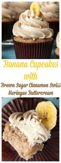 Banana Cupcakes With Brown Sugar Cinnamon Swiss Meringue Buttercream | Boston Girl Bakes
