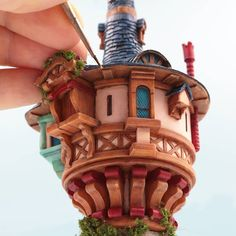 """Close up of Rapunzel tower from Tangled scale model I recently completed. I planned to make 2 more…"""" Styrene Sheets, Tower Models, Laser Cut Paper, My Little Nieces, Disney Pixar Movies, 3d Printer Projects, Flat Shapes, Red Felt, Movie Collection"""