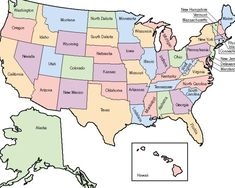 US #map shows the 50 states boundary their capital cities along with ...