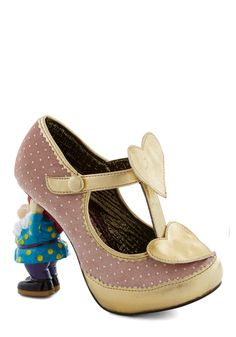 When in Gnome Heel. Go with the garden-party flow and surprise guests by introducing the fella who lives under the bridge of your foot and supports the beige velvet vamps of these heels  a design from the glam, exclusive Gold Label of Irregular Choice! #pink #modcloth