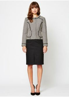 Coco Cropped Jacket Waffle weave tailored box jacket with black contrast piping and front pockets. This smart jacket is fully lined, with a covered zip fastening. Smart Jackets, Respect People, Summer Sale, Capsule Wardrobe, Knitwear, Women Wear, Dresses For Work, Style Inspiration, How To Wear