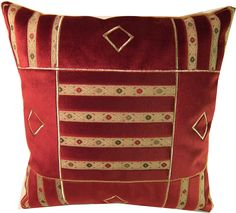 Poduszka z haftem 40 cm x 40 cm bordowy aksamit/welur
