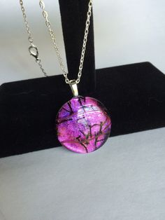 Round Purple and Black Dichroic Glass Pendant by starlingstudiosix on Etsy
