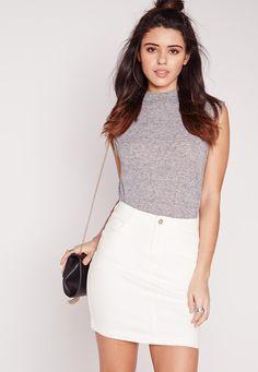 Missguided - Denim Super Stretch Mini Skirt White