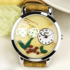 New Coffee Life Theme Polymer Clay Novelty Watch for Women