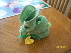 My Mom taught me how to make a cute bunny out of a washcloth. This is actually a easy craft to do for  someone!
