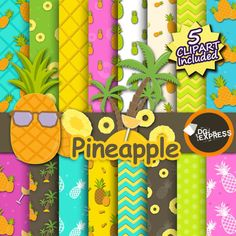 16 Pineapple Digital Paper + 5 Clipart Included :   You will receive a total of 16 Pineapple digital paper backgrounds with nice Pineapple PATTERNS
