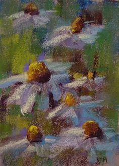 Daisies Wildflowers 5x7 Original Pastel by Karen Margulis
