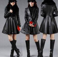 Luxury Womens Pu Leather Fur Collar Slim Fit Jackets Falbala Moto Overcoats Plus