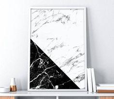 Impresión de mármol Minimalista en blanco y negro Mármol