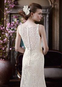 Intricately designed, this lavish vintage-style all over lace wedding dress is simply breathtaking! Slim tank bodice features a stunning beaded and embroidered neckline. All over lace detail and illusion back is delicate and feminine. Sweep train. Sizes 0-14. Available in select stores and online in Ivory. White available for Special Order in stores. Petite: Style 7MK3535. 0P-14P. $649. Special order only. Woman: Style 9MK3535. Sizes 16W-26W. $649. Special order only. Fully lined. Button…