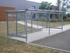 Abri vélo toit plat pente arrière en polycarbonate - Série AP Outdoor Decor, Veil, Bike Shelter, Flat Roof, Street Furniture