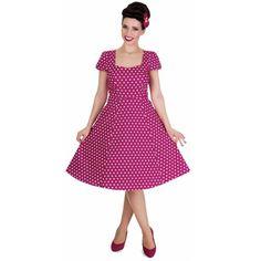 Claudia dress with white polka dot dots purple - Vintage 50's Rockabilly retro