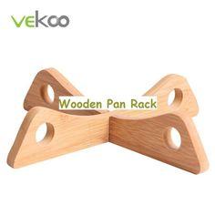 Wooden Wok Pan Cross Rack