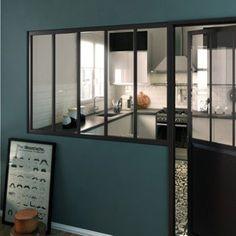 Verrière atelier en kit aluminium gris vitrage non fourni, H.1.08 x l.1.23 m   Leroy Merlin