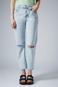MOTO Bleach Wash Ripped Girlfriend Jeans - New In This Week - New In - Topshop