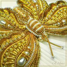 Вышитая брошь. Ручная работа. Золотное шитьё. Вышивка бисером. Goldwork brooch, hand embroidery