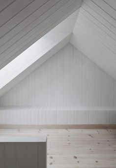 Wooden interior. The  Vega Cottage in Norway by Kolman Boye Architects.