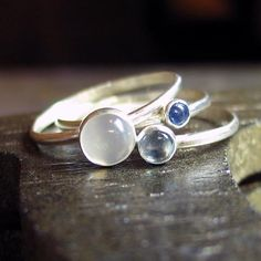 Sterling Silver Stacking Rings - Sky Blue Dreaming