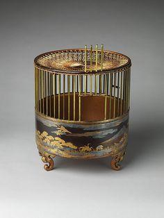 鳥かご Birdcage   Edo period (1615–1868)  18th century  Japan  Black lacquer ground with gold and silver maki-e, dyed wood, and silk netting