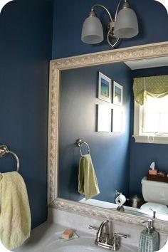 Our half-bath / powder room; Benjamin Moore Van Deusen Blue; DIY framed mirror