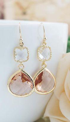 Peach Glass Earrings from EarringsNation Peach Weddings