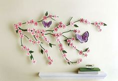 Cherry Blossom & Butterflies Metal Wall Art