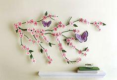 Cherry Blossom & Butterflies Metal Wall Art