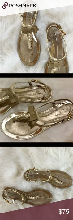 3a3bbeafb3d Kate Spade NY Leather Pearl Sandals W  Bow Sz 8.5 Kate Spade New York  Leather