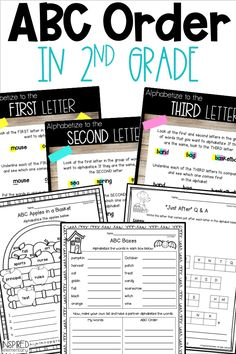 ABC Order for 2nd Grade printables and activities to help students learn alphabetical order. These fun activities teach abc order to the first, second and third place. Elementary students get weekly practice and it can be morning work, independent worksheet practice or as abc order homework. Parts Of Speech Activities, First Grade Activities, Vocabulary Activities, Fun Activities, Writing Lessons, Teaching Writing, Teaching Resources, Teaching Ideas, First Grade Teachers