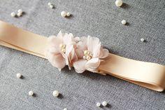 Bridal Sash Belt - Wedding Dress Sashes Belts - Bridesmaids Flower Girl Ribbon Belt Champagne Nude Tan Khaki Latte Light Brown Flowers