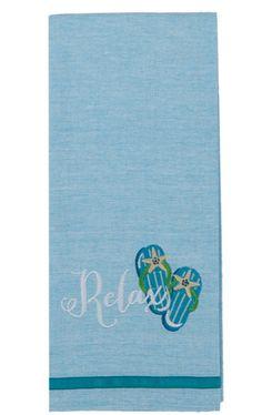 "Flip Flops Relax 100% Cotton Chambray Dish Towel / Tea Towel, 18"" x 28"""