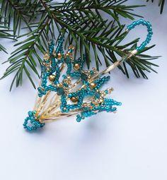 Vánoční deštníček  smaragdově-zlatý