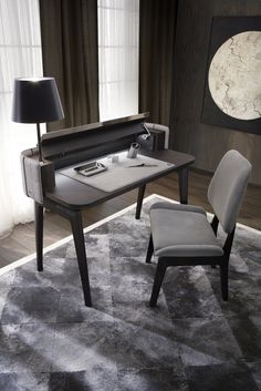 MARLON desk in matt tobacco rosewood and grey Nabuk leather outer side