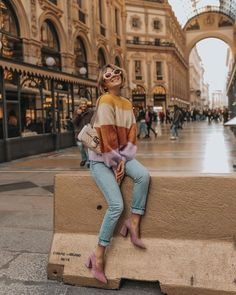 Stripes with dash of color and stylish! Ideal street style fashion statement outfits. #style #fashion #outfits #chic #cool #streetstyle #color