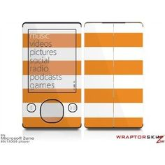 Zune 80/120GB Skin Kit - Kearas Psycho Stripes Orange and White plus Free Screen Protector by WraptorSkinz. WraptorSkinzTM self adhering vinyl skins will look amazing on your electronic gear, printed at the highest resolution possible for unbeatable color and razor sharp clarity. Unlike bulky silicon, plastic or metal cases and faceplates, WraptorSkinz are designed to be thin and very tough. WraptorSkinz are a composite of layered commercial grade vinyls. The bottom layer is a soft, flexible…