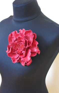 Handmade leather Red flower pin brooch by ProninA on Etsy, $45.00