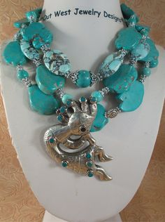 Cowgirl Necklace Set - Chunky Howlite Turquoise Slabs with a Handcrafted Kokopelli Pendant by Outwestjewelry on Etsy https://www.etsy.com/listing/216912541/cowgirl-necklace-set-chunky-howlite
