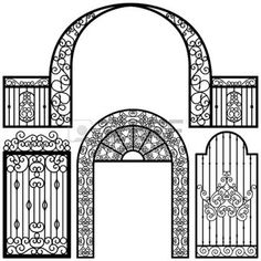entrance gate: Entrance Gate Door Fence Vintage Retro Ancient Garden