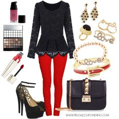 Frugal Fashion - Valentine's Day Outfit. Relaxed Feel, Dressed Up Look. Polyvore Fashion. Outfit of the Day OOTD. February 14th Fashion on Frugal Coupon Living.