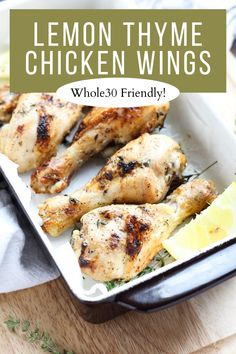 Have dinner on the table in under an hour with these Whole30 Lemon Thyme Chicken Wings! They're easy to prepare, and you only need a few simple ingredients. The outside is crispy, and the inside is juicy, tender, and full of flavor! If you're looking for a simple dinner recipe that the whole family will love, you have to try these wings!! Paleo Chicken Recipes, Real Food Recipes, Lemon Thyme Chicken, Whole 30 Lunch, Whole 30 Recipes, Lunches And Dinners, Easy Dinner Recipes, Chicken Wings, Stuffed Peppers