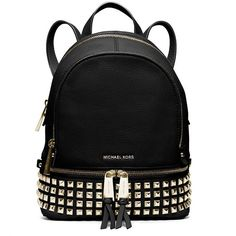 Michael Michael Kors Rhea Studded Leather Mini Backpack ($258) ❤ liked on Polyvore featuring bags, backpacks, purses, black, black leather knapsack, black leather bag, black mini backpack, genuine leather backpack and pocket backpack