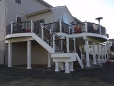 Curved deck designs are one of our specialties for NJ and PA residents. Browse our portfolio of our recently completed curved deck design projects. Second Story Deck, Deck Stairs, Deck Builders, Cool Deck, New Deck, Rooftop Deck, Deck Plans, Building A Deck, Deck Design