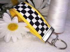 NYC Taxi Cab, Fabric Key Fob, Checker Board, Wristlet Keychain, NYC Taxi Yellow, Stylish Fabric Keyring, Affordable Mother's Day Gift by PhenomenalWomenShop on Etsy